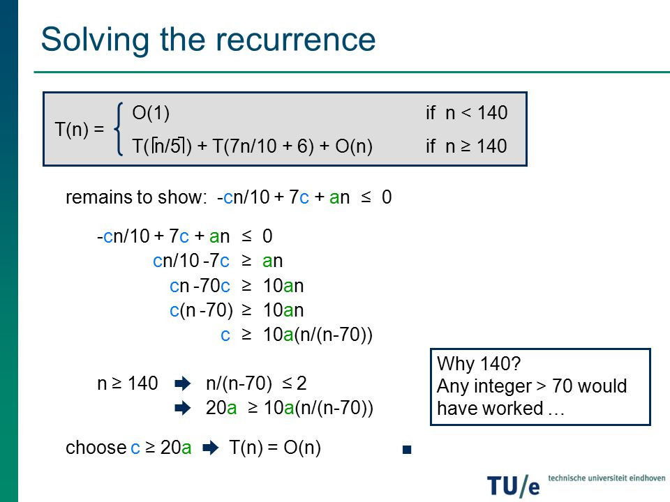 Solving the recurrence