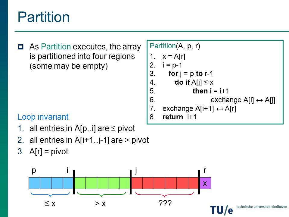 Partition As Partition executes, the array is partitioned into four regions (some may be empty) Loop invariant.