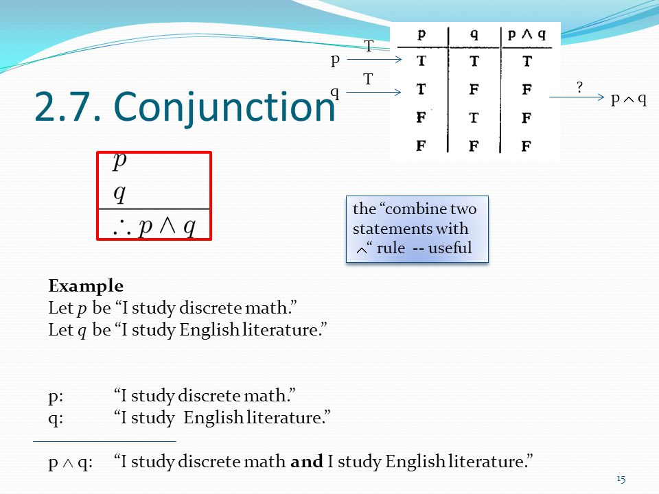 2.7. Conjunction Example Let p be I study discrete math.