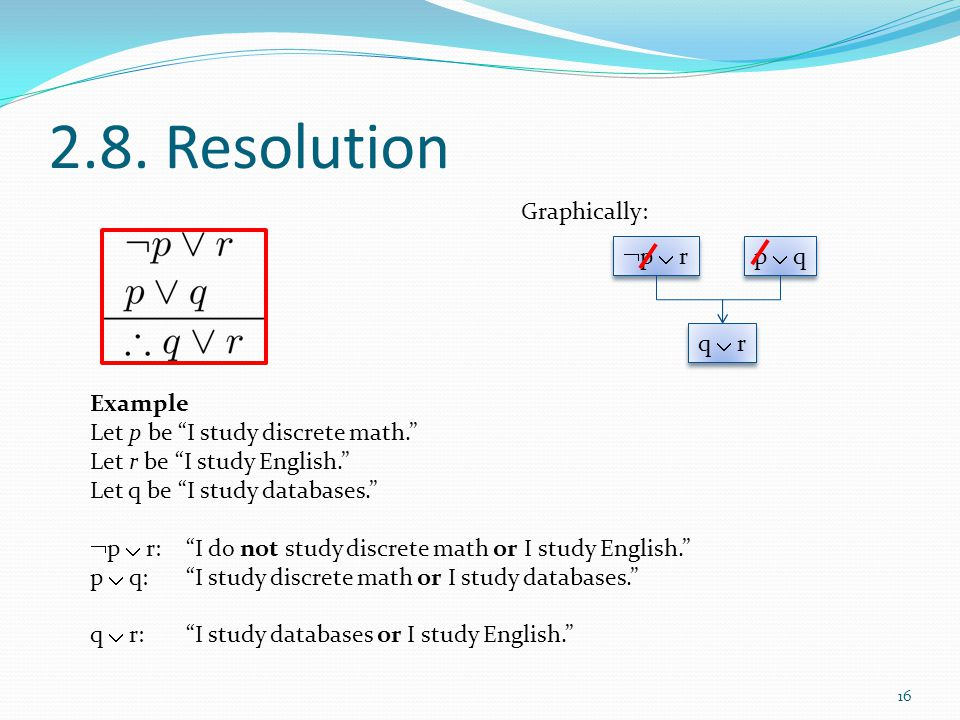 2.8. Resolution Graphically: p  r p  q q  r Example
