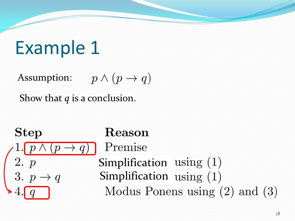Example 1 Simplification Simplification Assumption: