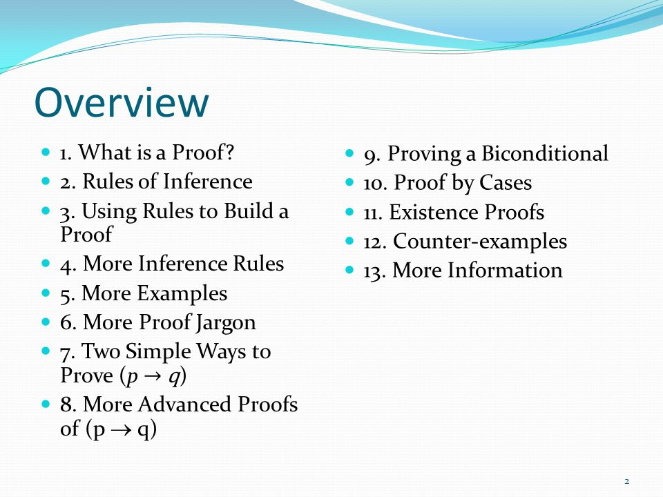 Overview 1. What is a Proof 9. Proving a Biconditional
