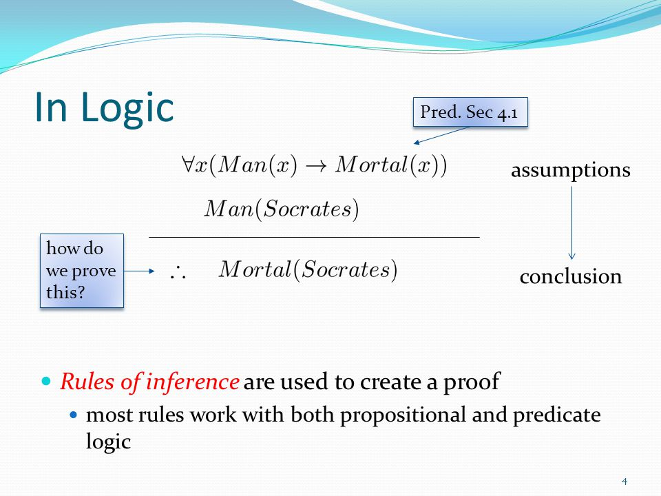 In Logic Rules of inference are used to create a proof assumptions