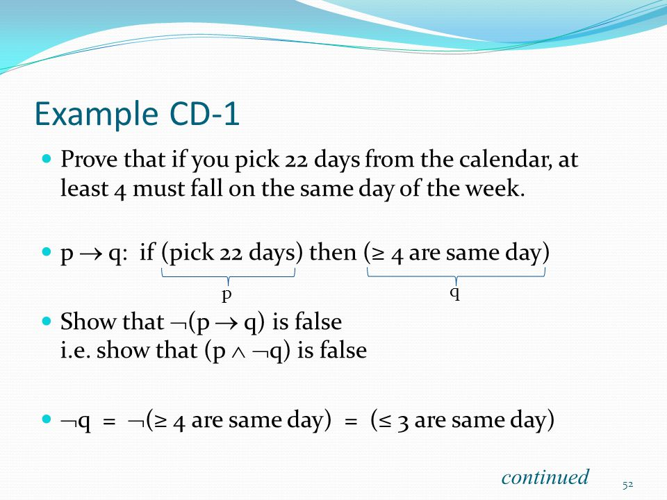 Example CD-1 Prove that if you pick 22 days from the calendar, at least 4 must fall on the same day of the week.