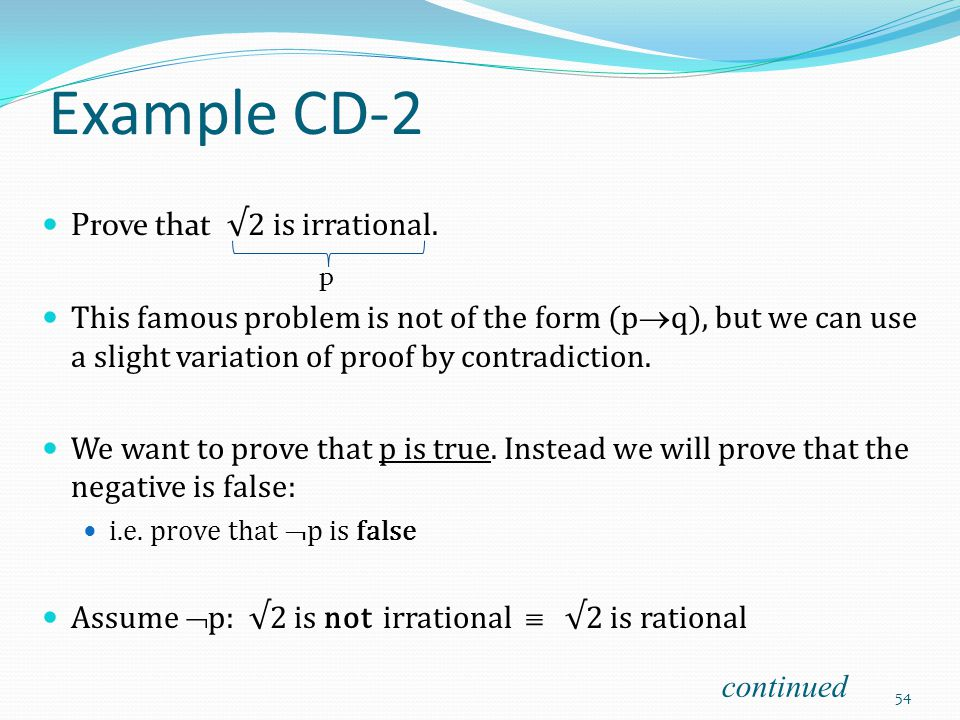 Example CD-2 Prove that √2 is irrational.