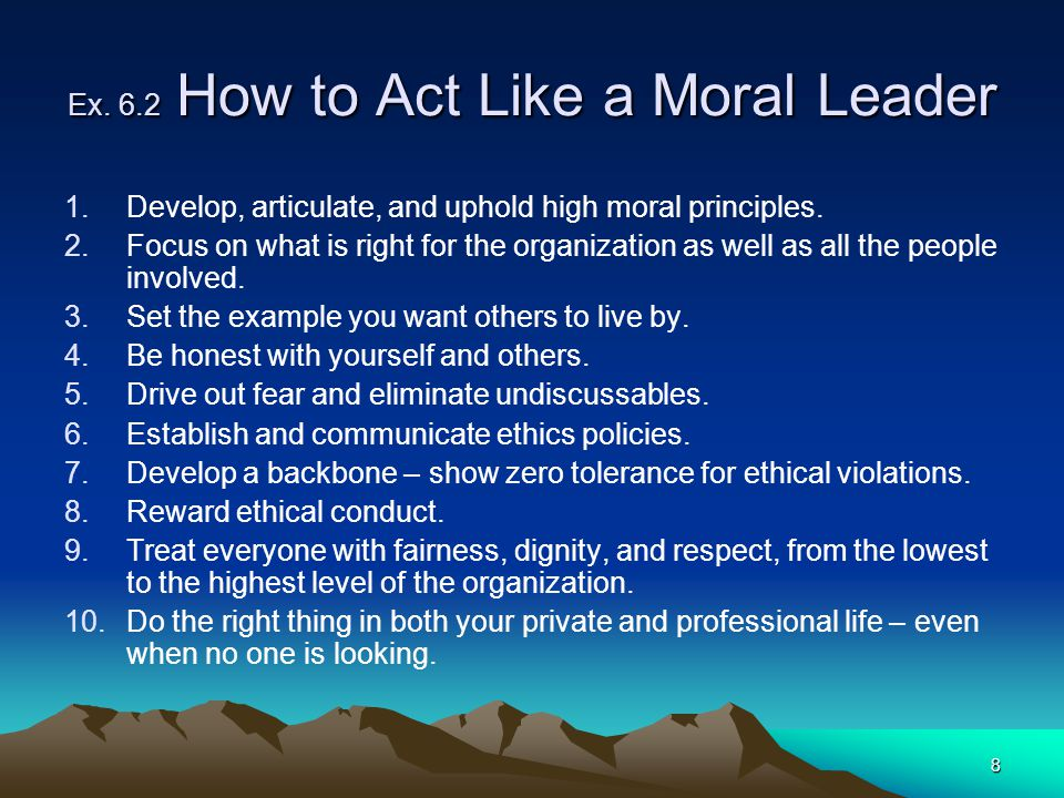 Ex. 6.2 How to Act Like a Moral Leader