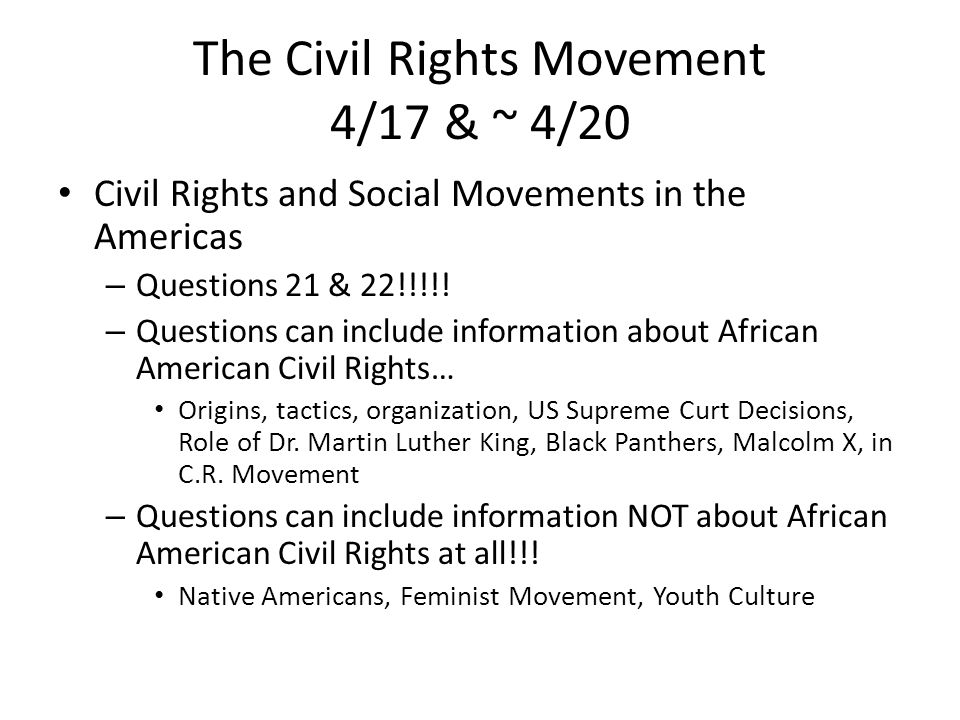 an analysis of social movements in the american civil rights The university of the state of new york the state education department equality is known as the modern civil rights movement task: 5a what major trend in african american voter registration is shown by this map [1.