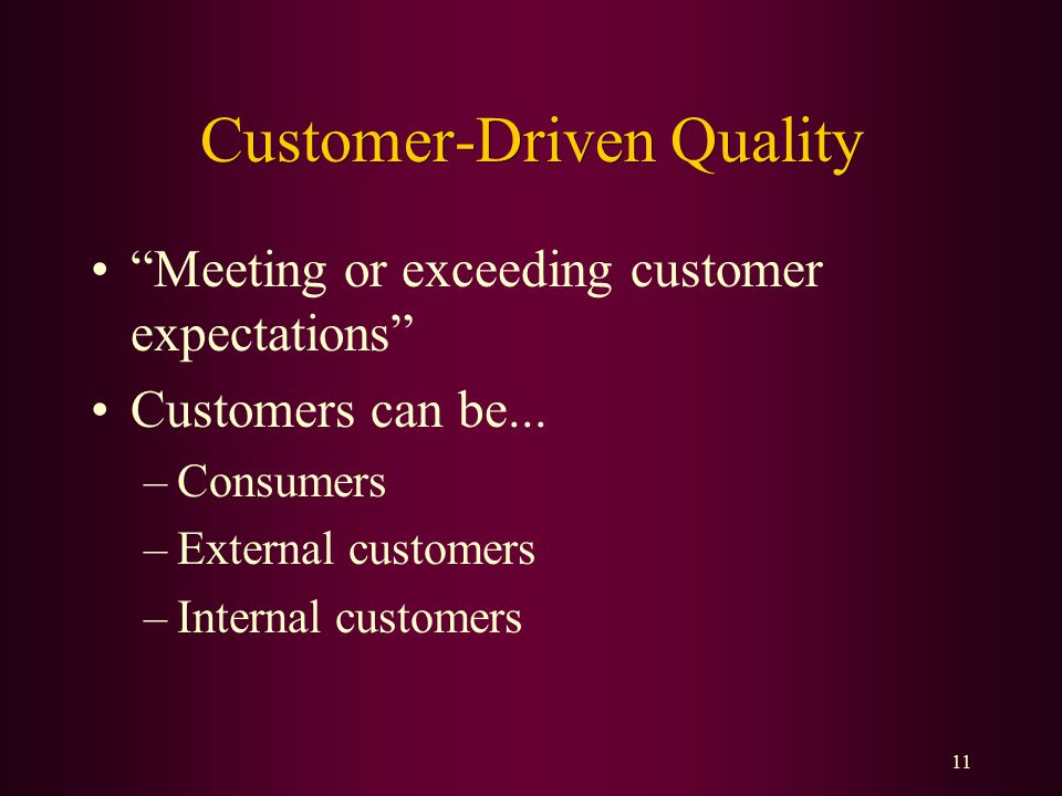 customer driven quality essay Form expectations about quality to manage customer expectations over time this  thesis comprises of two essays where i demonstrate the role of customer   7note that the negative coefficient of the inverse mills ratio is potentially driven by .