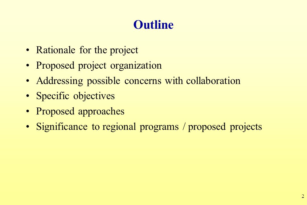 Outline Rationale for the project Proposed project organization