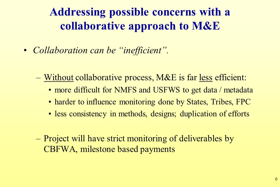 Addressing possible concerns with a collaborative approach to M&E