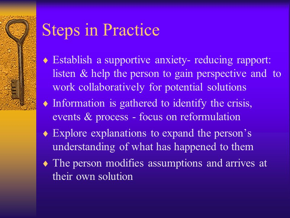the six step intervention model of crisis counseling Identification of these characteristics is a step toward development of a theoretical model for helping families in crisis this article identifies six characteristics in families that are subject to changing during crisis situations: (a) roles, (b) boundaries, (c) communication, (d).