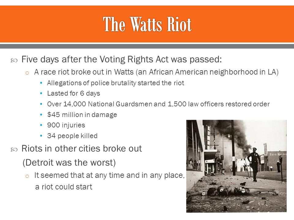 term paper on the watts riots Decades later, effect of watts riots still linger tim watkins, president of the watts labor community action committee, talks about the lingering effects of the 1965 unrest on the south-central .