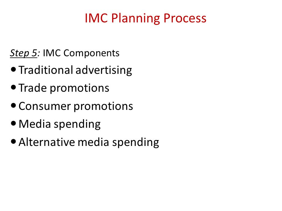 imc process in advertising The basic process of marketing communication in international promotion are as follows: marketing communication aims at conveying a firm's message as effectively and accurately as possible the basic process of marketing communication, as depicted in figure 91, involves the following constituents.