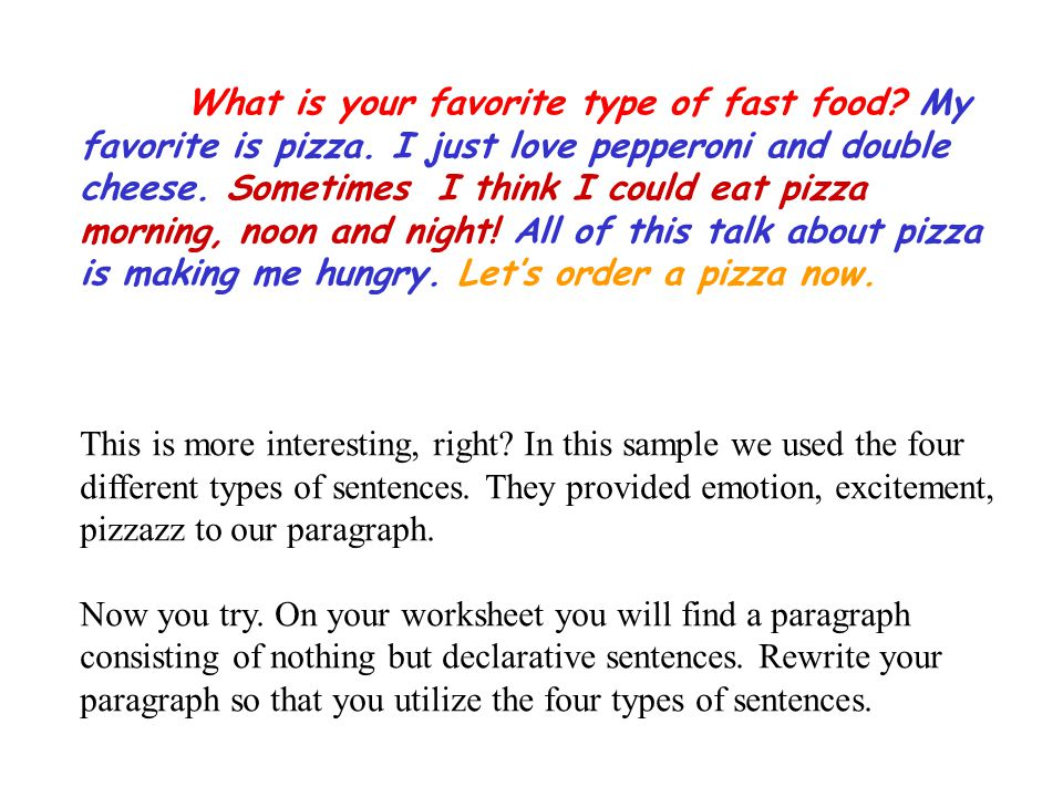 There are four types of sentences ppt download for Cuisine sentence
