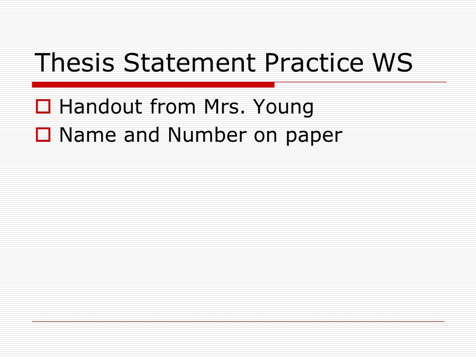thesis practice worksheets for high school