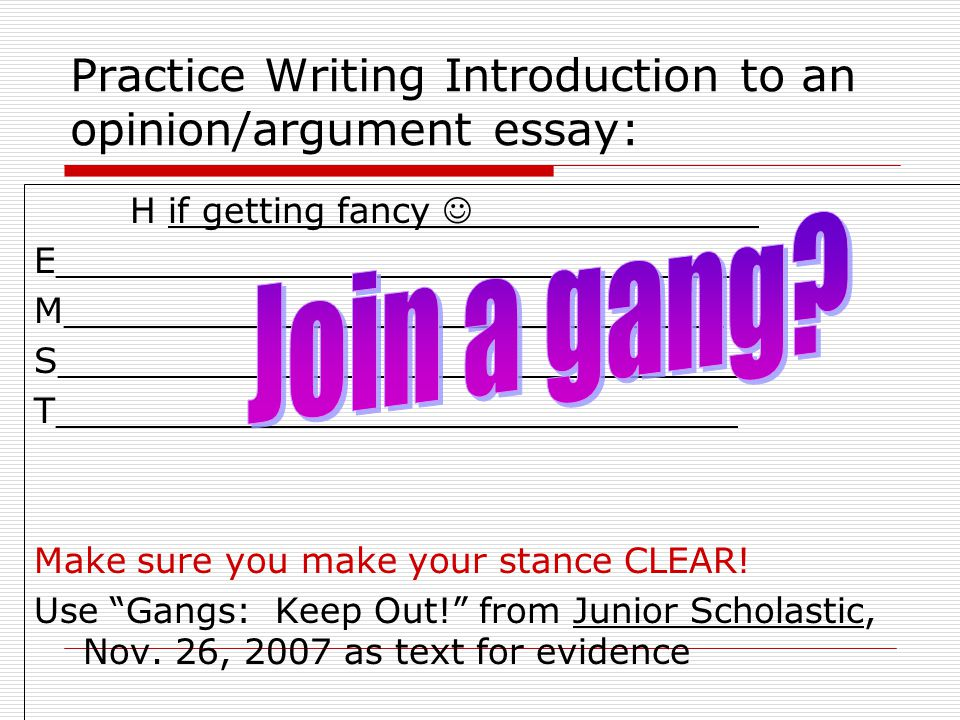 Reasons for joining a gang essay