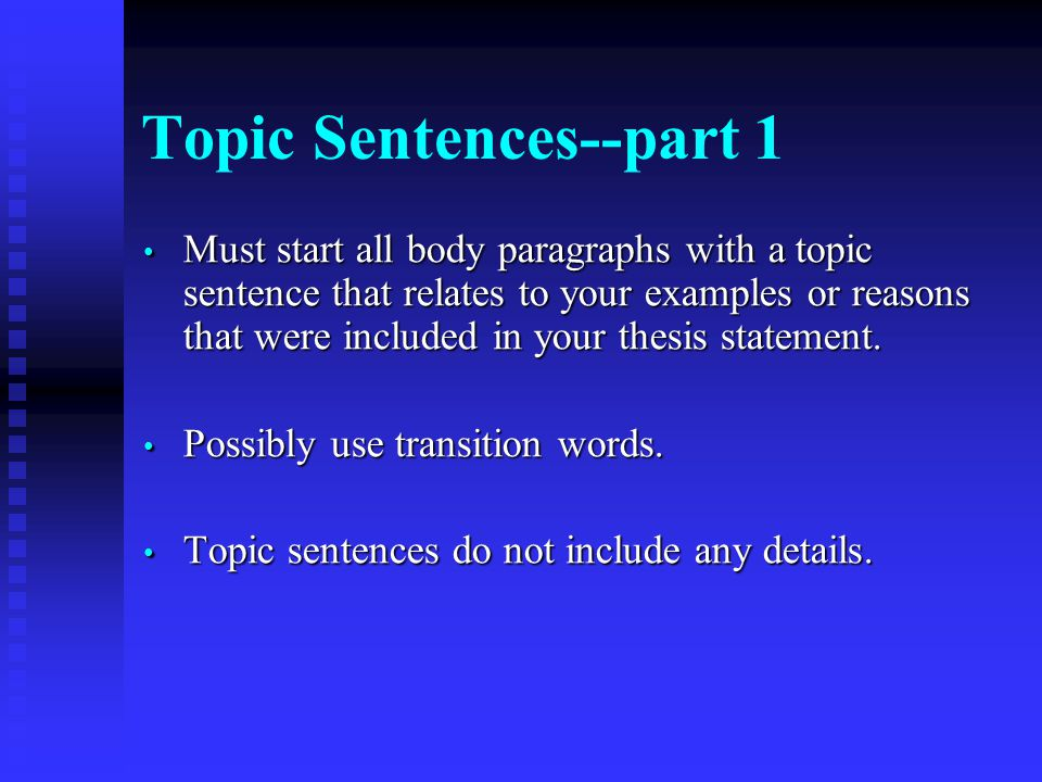 transitions to start a thesis statement A strong thesis statement is key to writing a persuasive essay the thesis statement presents your topic to the reader, provides your opinion on that topic and summarizes the argument you'll make in the paper by offering evidence for your opinion.