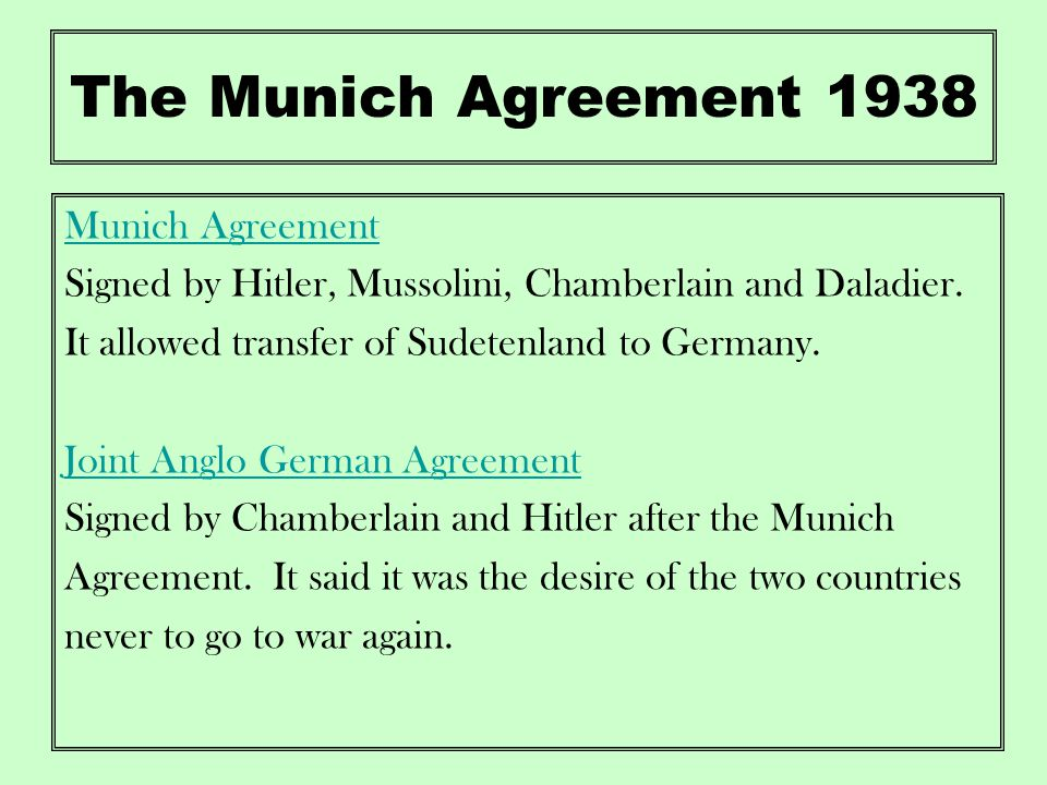 Appeasement and the road to war ppt video online download the munich agreement 1938 munich agreement platinumwayz