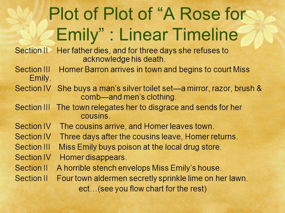 "plot analysis a rose for emily Plot summary ""a rose for emily"" is a short story divided into five sections: section one opens with a description of the grierson home and its setting in jefferson."