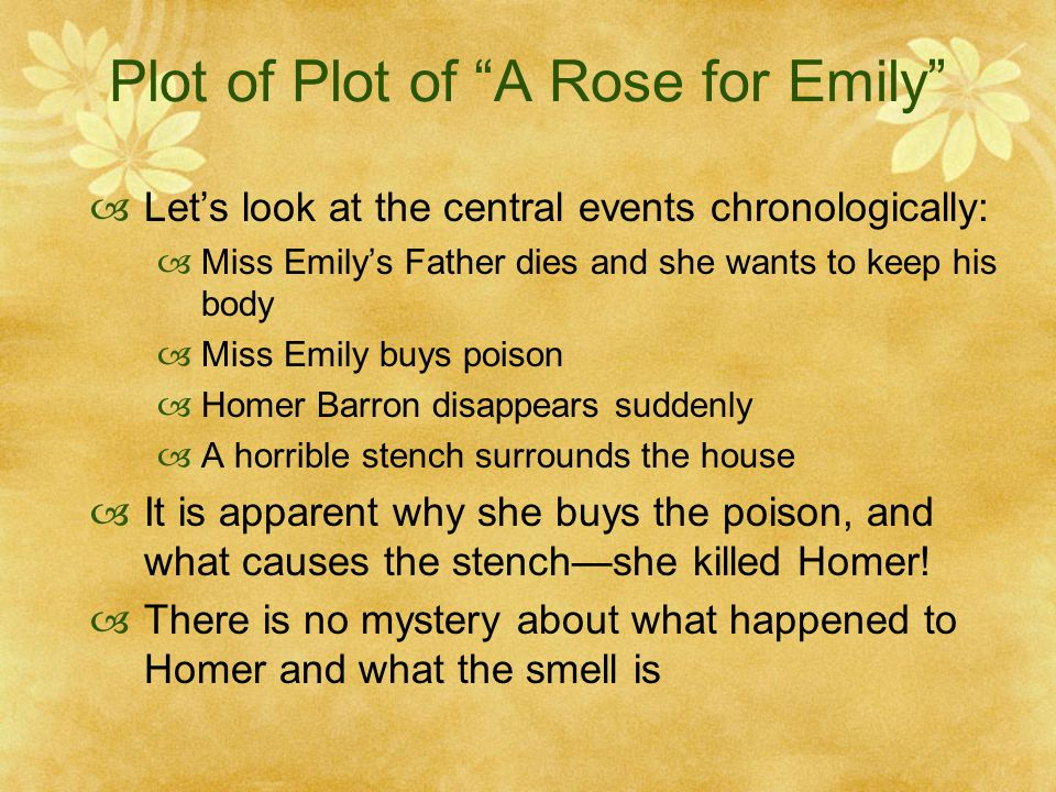 a rose for emily fathers This lesson details the characters and symbolism in william faulkner's southern gothic story, 'a rose for emily' in this lesson, you will take a.
