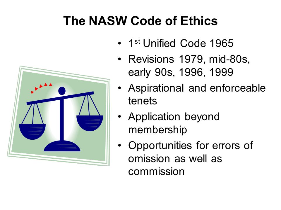 nasw core values Regardless of the setting you choose to work in, you're expected to adhere to a professional code of ethics, which includes the five core values of social work 1 service to humanity.