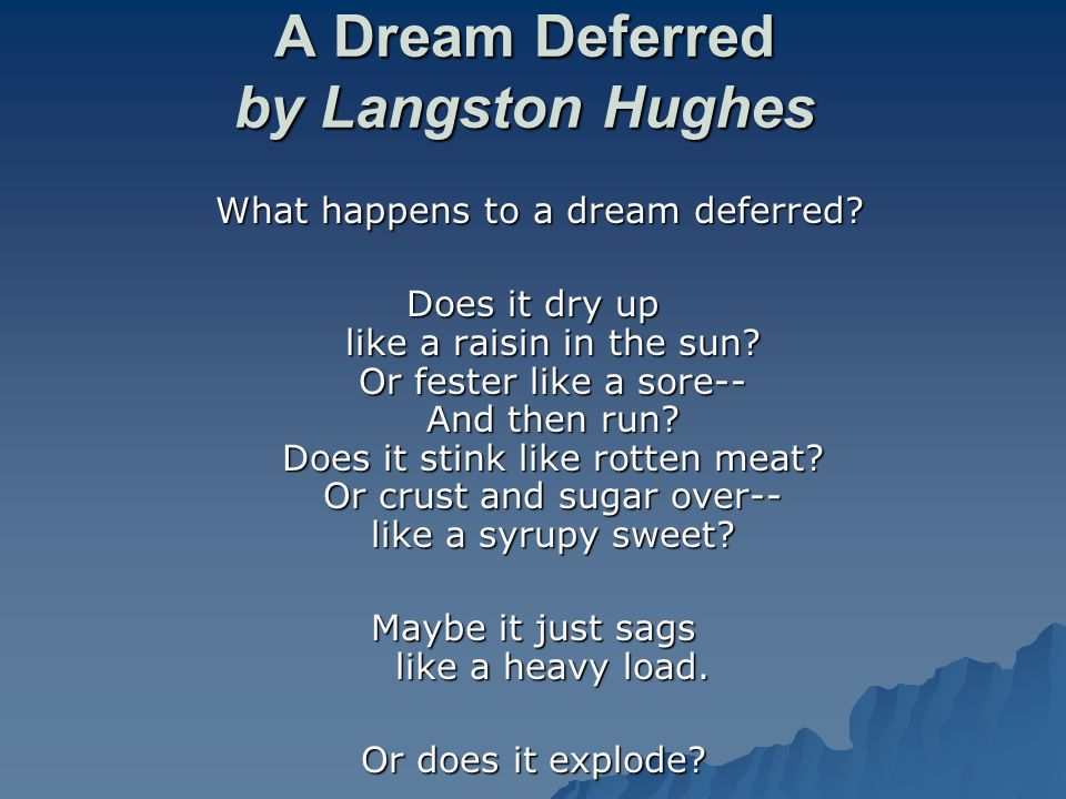 poem dream deferred By: langston hughes a dream deferred deferred means to put off, delay, suspend this poem might be about what happens to dreams that are put off/delayed/suspended t-title what happens to a dream deferred.