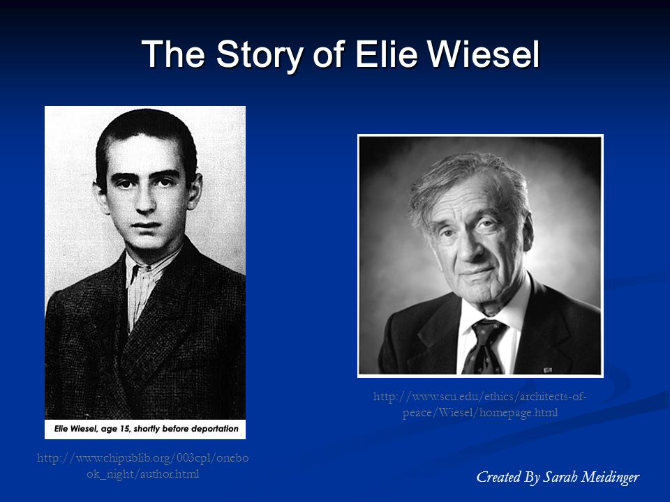 a short biography of elie wiesel Night (1960) is a work by elie wiesel about his experience with his father in the nazi german concentration camps at auschwitz and buchenwald in 1944 eight short.