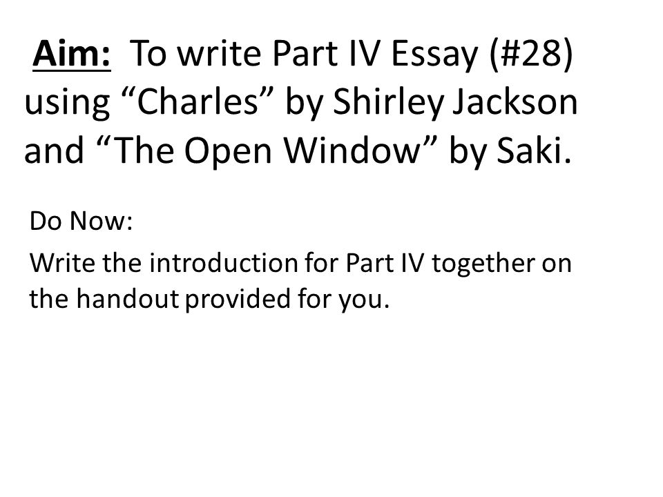 "charles by shirley jackson theme essay An interview with shirley jackson's son, laurence jackson hyman this week's story, ""paranoia,"" is by your mother, shirley jackson, who published twelve stories in the new yorker between."
