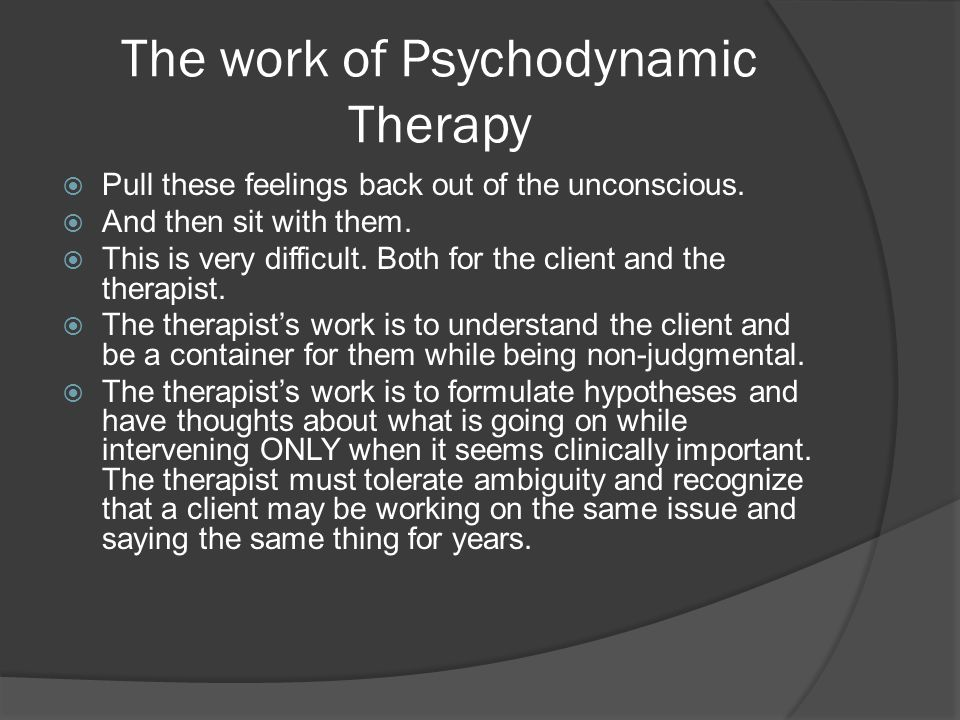 importance of working alliance in psychodynamic therapy The psychotherapy process research on the therapeutic alliance in child and  model of the working alliance and  for traditional psychodynamic therapy.