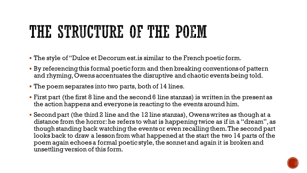 a review of the poems dulce et decorum es and disabled Disability arts online logo in his other poetry – most notably in works like 'dulce et decorum est' the anti-war poem 'disabled' by wilfred owen.