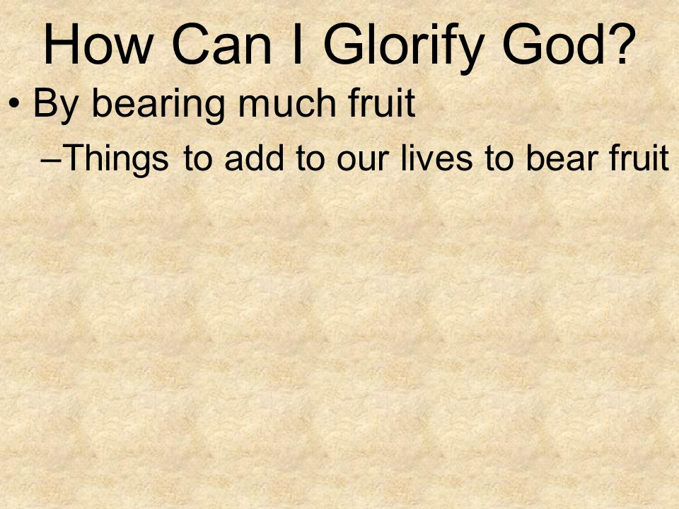 How Can I Glorify God By bearing much fruit