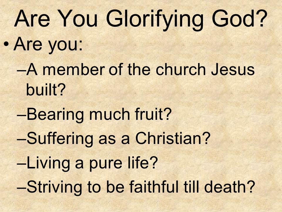 Are You Glorifying God Are you: A member of the church Jesus built