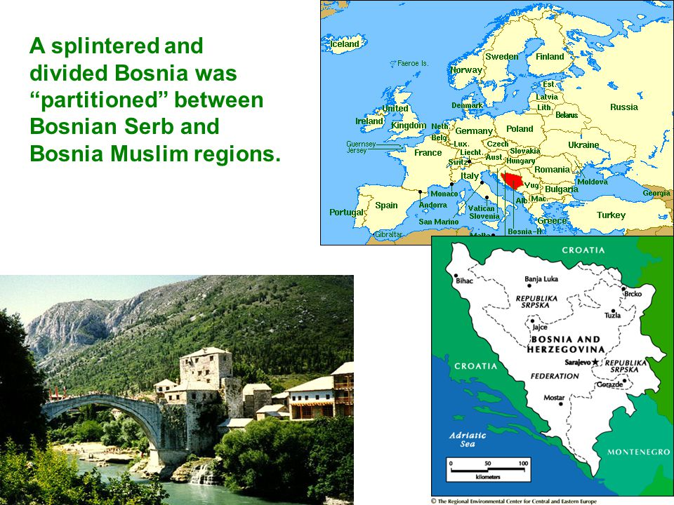 A splintered and divided Bosnia was partitioned between Bosnian Serb and Bosnia Muslim regions.