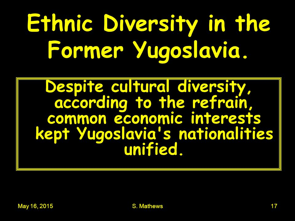 Ethnic Diversity in the Former Yugoslavia.