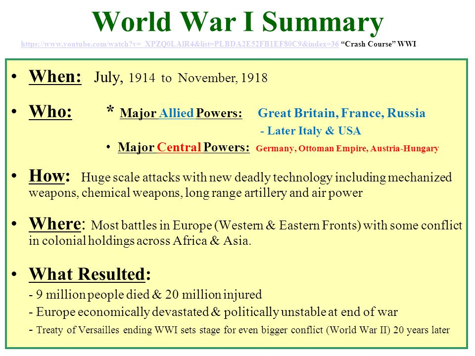 summary of wwi An overview of the causes and effects of world war ii.