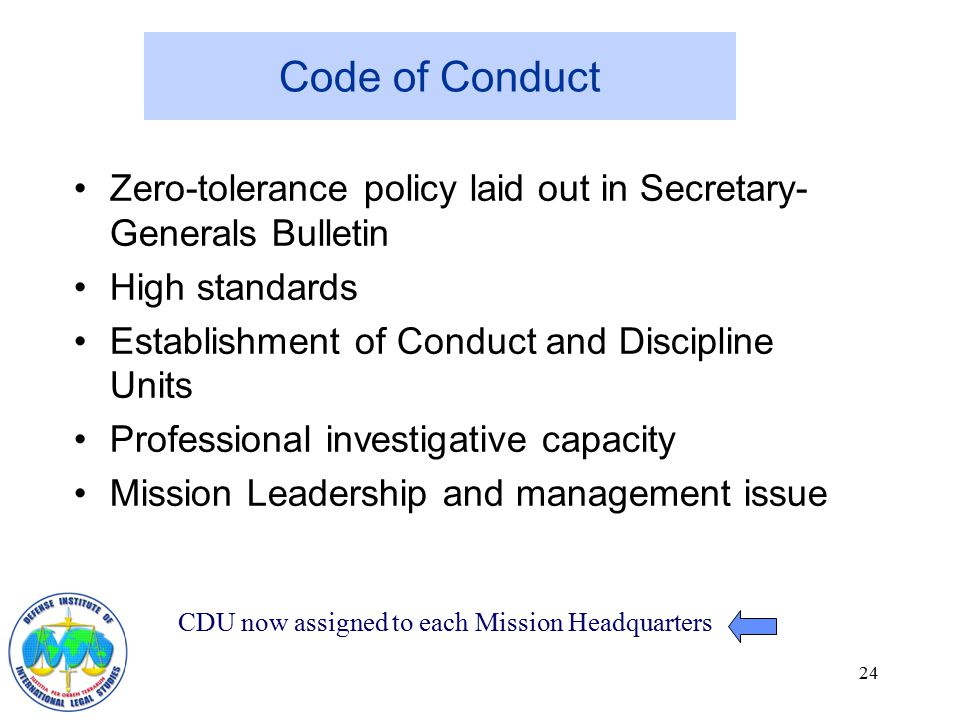 Code of conduct and policies for