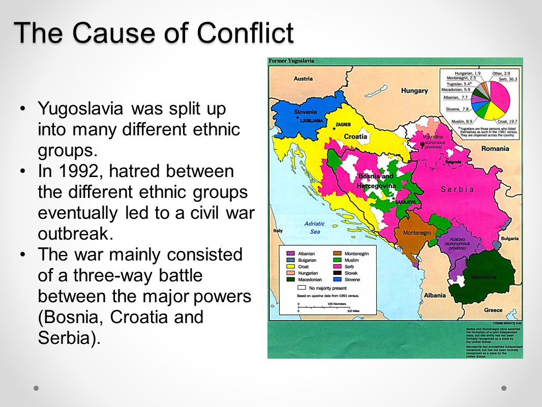 The Cause of Conflict Yugoslavia was split up into many different ethnic groups.