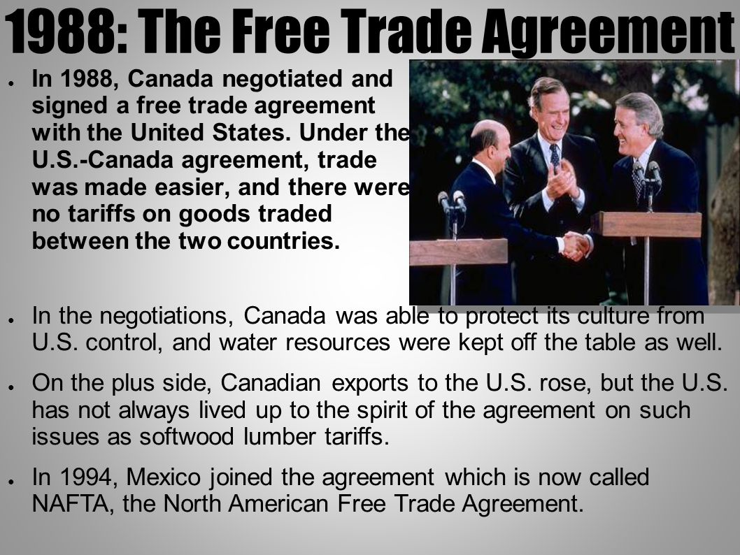 Canada ppt download 13 1988 the free trade agreement platinumwayz