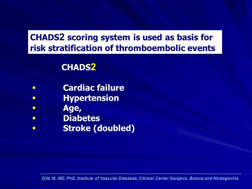 CHADS2 scoring system is used as basis for