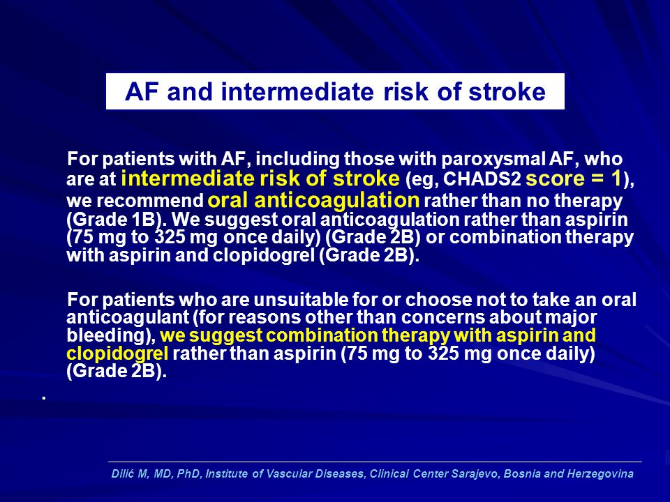 AF and intermediate risk of stroke