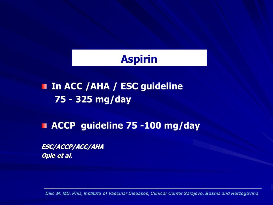 Aspirin In ACC /AHA / ESC guideline mg/day