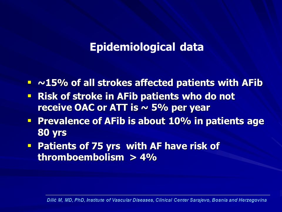 Epidemiological data ~15% of all strokes affected patients with AFib