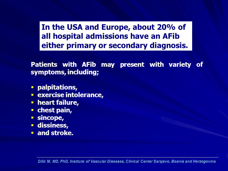In the USA and Europe, about 20% of all hospital admissions have an AFib either primary or secondary diagnosis.