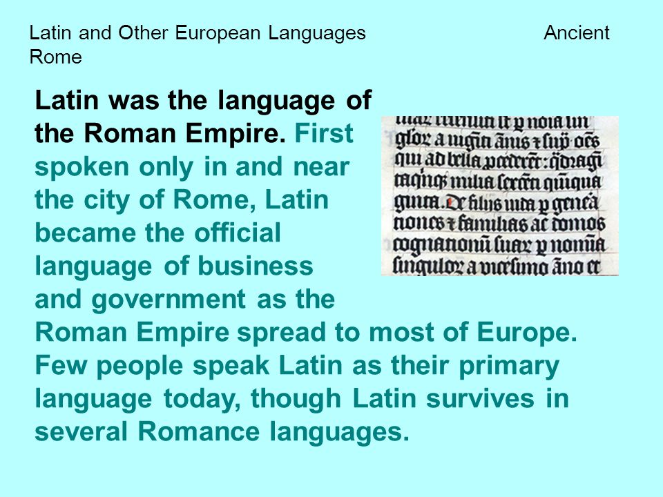 Latin and Other European Languages Ancient Rome - ppt download