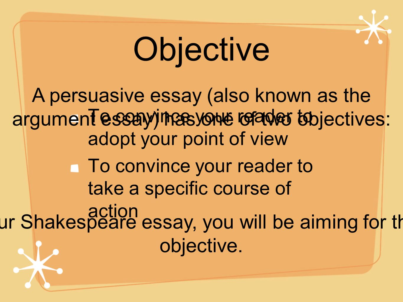 Objective argument essay