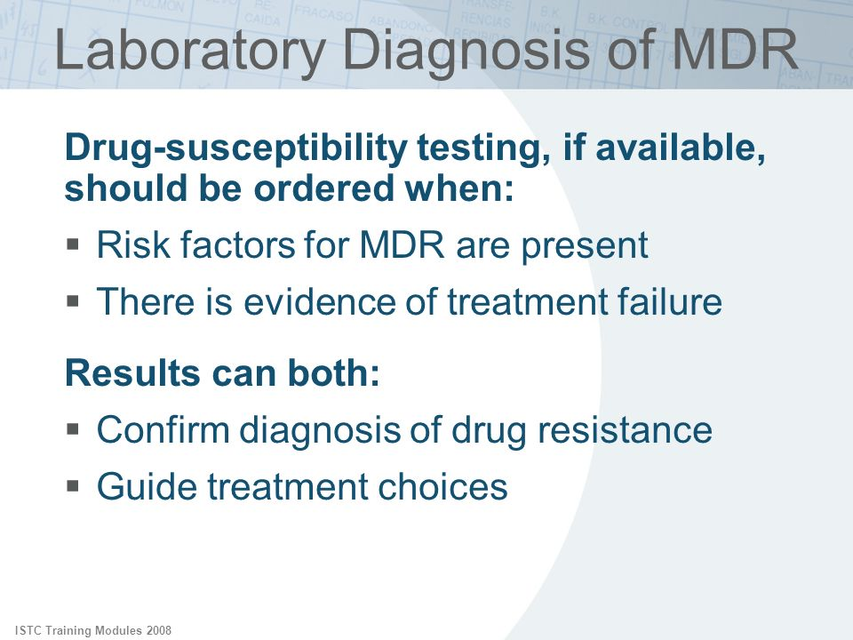 Laboratory Diagnosis of MDR