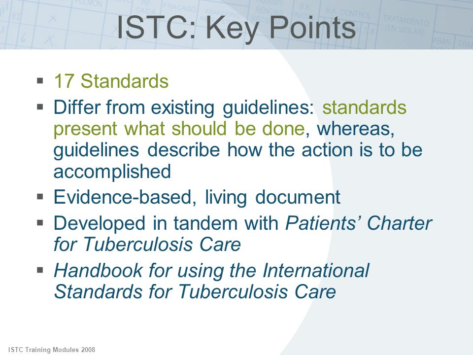 ISTC: Key Points 17 Standards