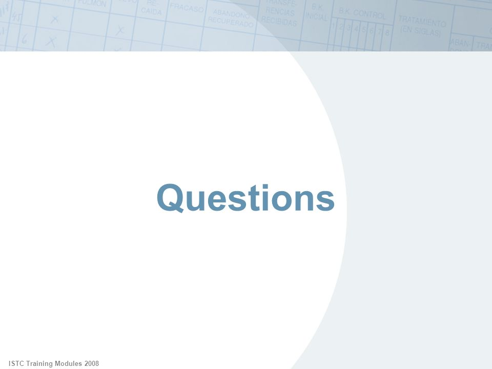 ISTC Training Modules 2008 Questions.