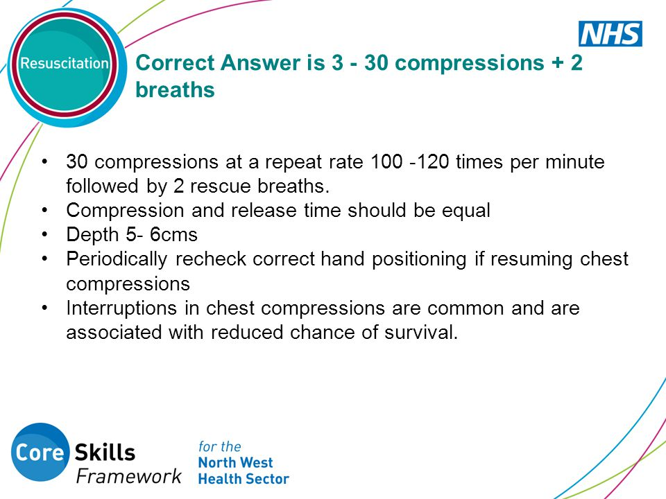 Correct Answer is compressions + 2 breaths