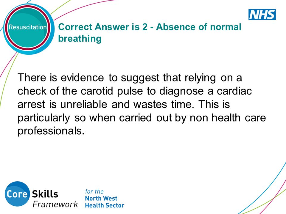 Correct Answer is 2 - Absence of normal breathing